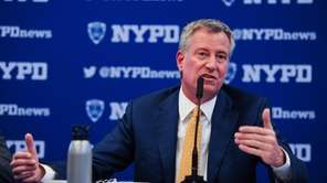 New York City Mayor Bill de Blasio scoffed