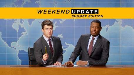 Co-anchors Colin Jost, left, Michael Che returned in