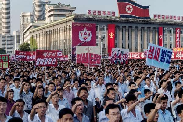 People rally on Kim Il-sung square in Pyongyang