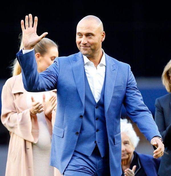 Derek Jeter waves to the fans at Yankee
