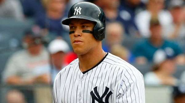 Aaron Judge of the Yankees strikes out in