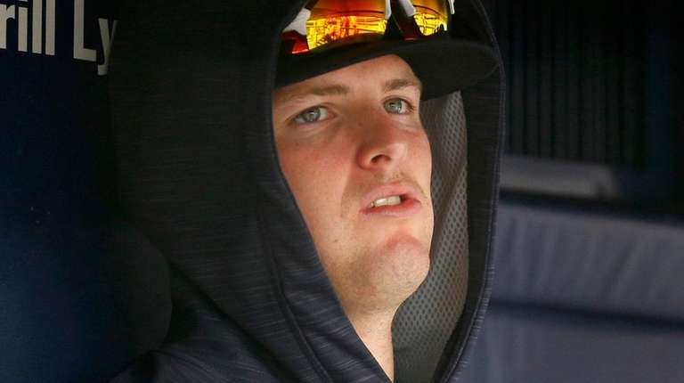 Jordan Montgomery of the Yankees looks on from the