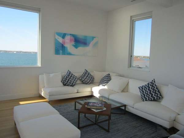 The Westhampton Beach home features white walls, stainless