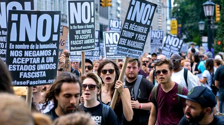 Demonstrators march in near Central Park on Sunday,