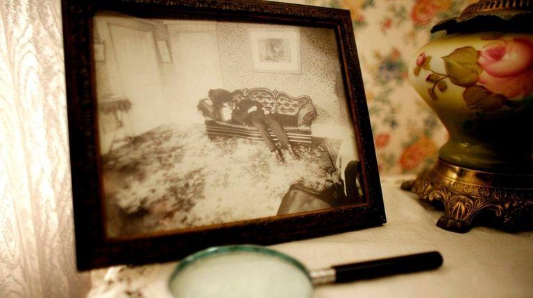 A crime scene photograph of Lizzie Borden's father,