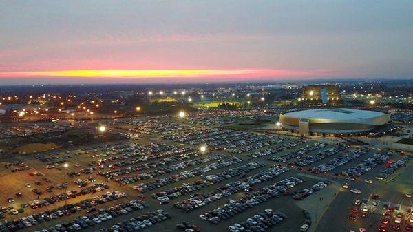 An aerial view of Nassau Coliseum, Wednesday evening