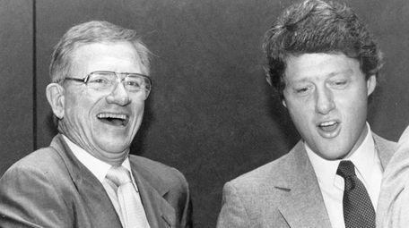 University of Arkansas athletic director Frank Broyles, left,
