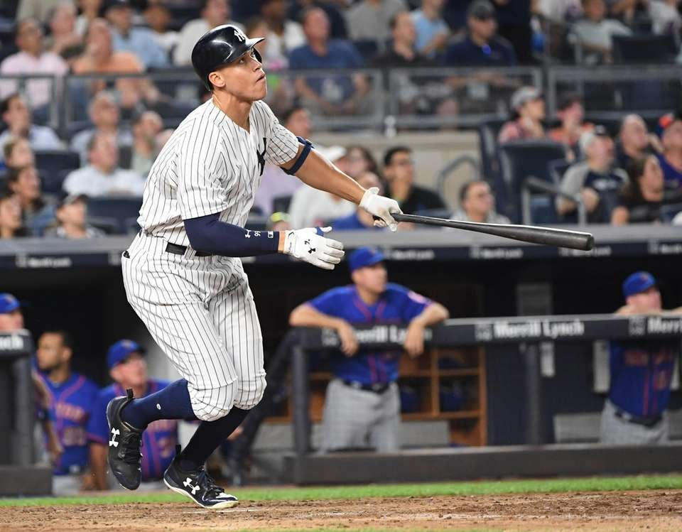 New York Yankees right fielder Aaron Judge watches