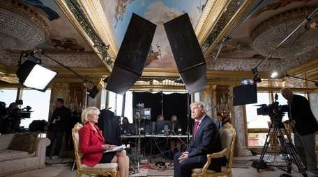 Lesley Stahl interviews then President-elect Donald Trump at