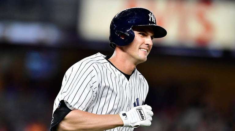 Greg Bird of the Yankees reacts after hitting