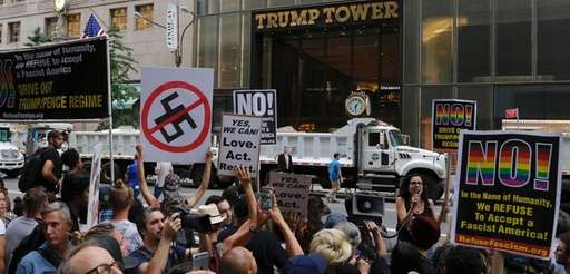 Protesters gather near Trump Tower against U.S. President