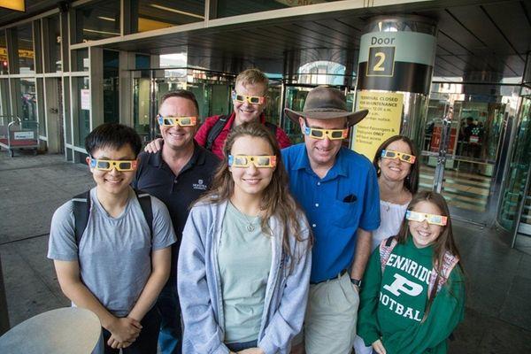Wearing solar eclipse glasses, Brian Lee, Steve Lawrence,