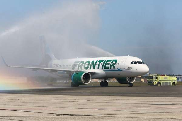 A Frontier Airlines flight from Orlando is sprayed