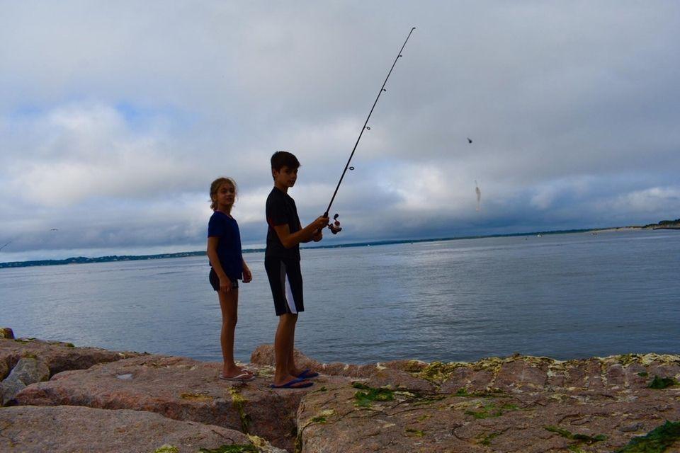 Fishing at ponquogue beach..