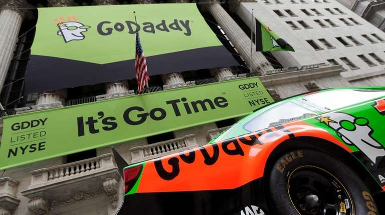 Domain registrar GoDaddy, whose company banner is seen