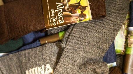 Peggie Ehlers ells alpaca wool socks at Green