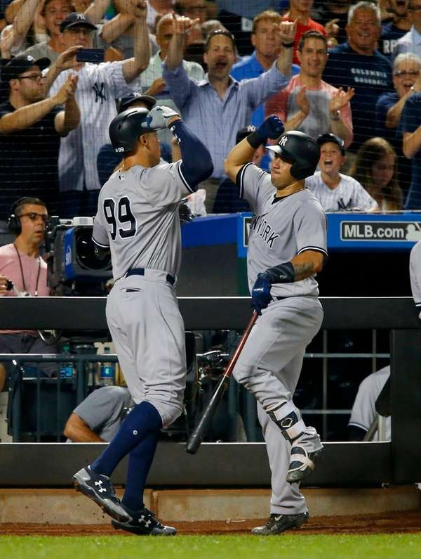 Aaron Judge of the of the Yankees celebrates