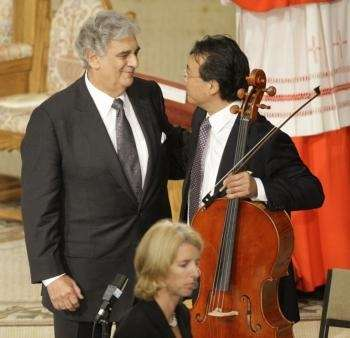 Placido Domingo and Yo Yo Ma greet each