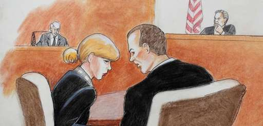 In this courtroom sketch, pop singer Taylor Swift,