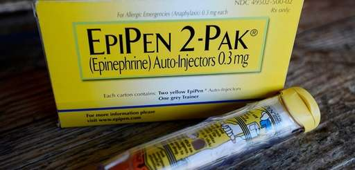 An EpiPen epinephrine auto-injector, made by Mylan, in