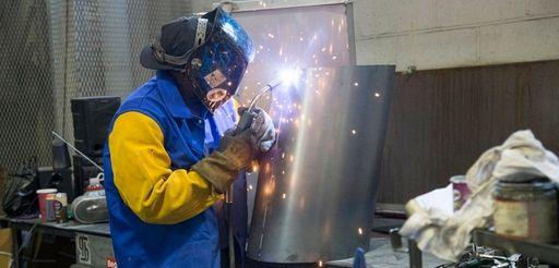 Umar Wyatt welds at Delta Sheet Metal Corp.