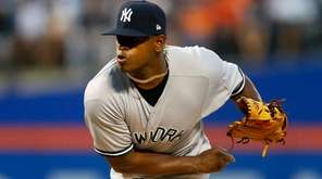 Luis Severino of the Yankees pitches against the Mets at
