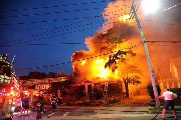 A fire gutted a vacant house on Greenwich
