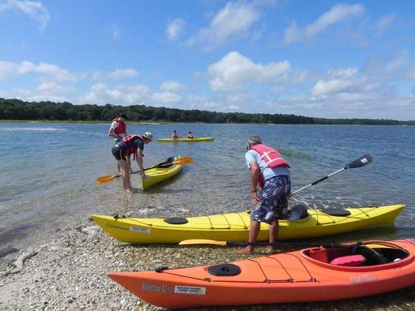 Kayakers in Coecles Harbor on Shelter Island.
