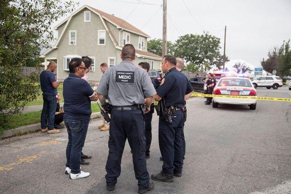 Nassau County police on William Street in Hicksville