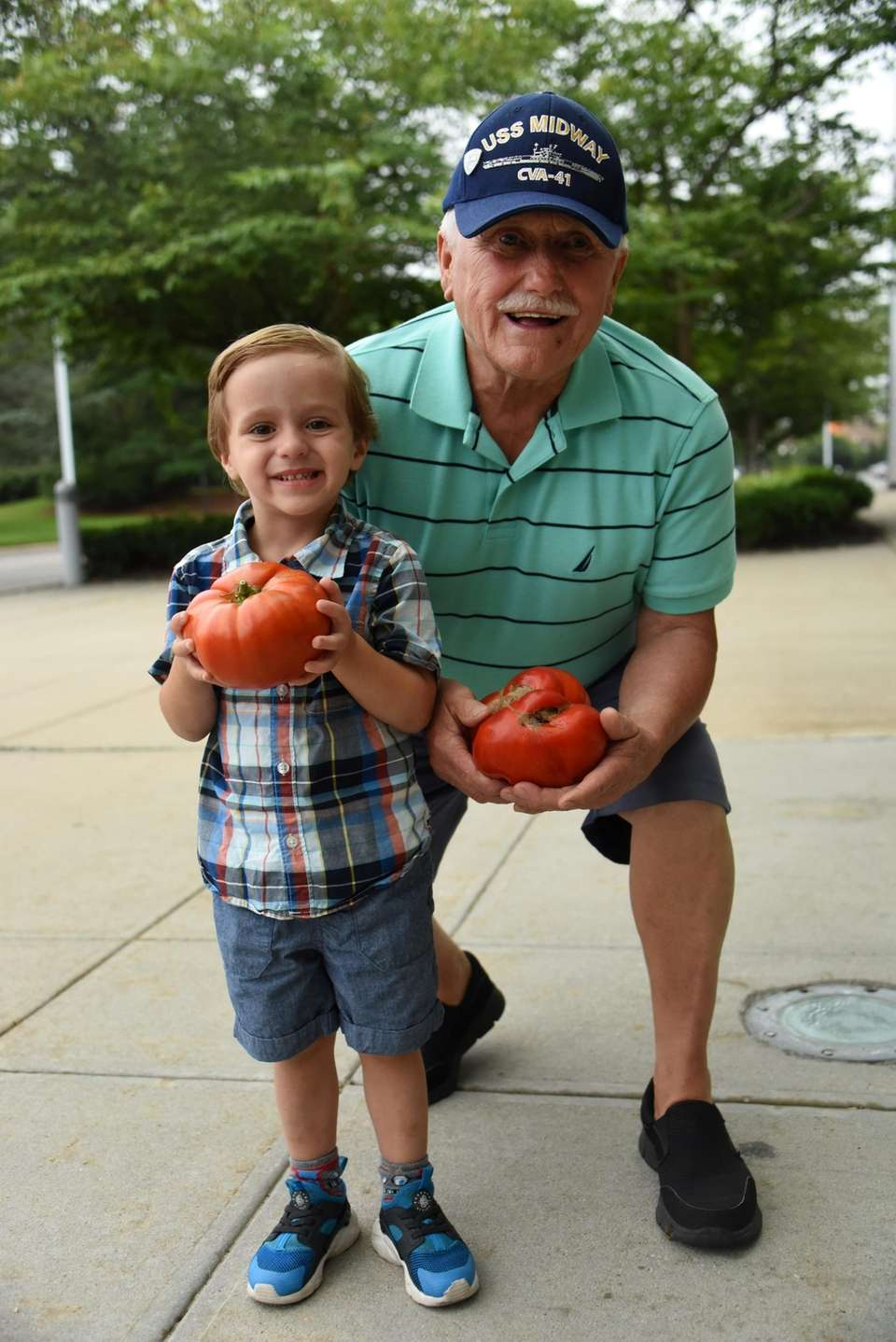 Wyatt DePace, 3, of Albertson, and his grandpa