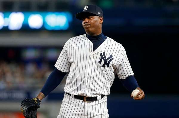Aroldis Chapman of the Yankees grimaces at first