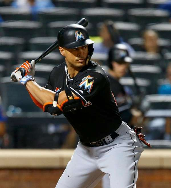 Giancarlo Stanton of the Miami Marlins bats against