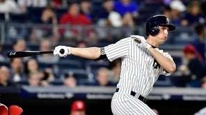 Greg Bird of the New York Yankees doubles