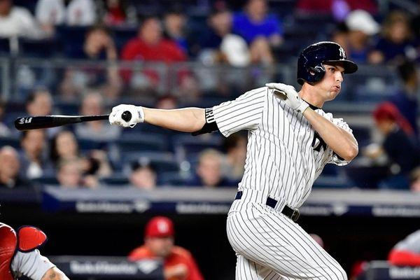 Greg Bird of the New York Yankees doubles
