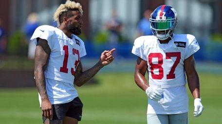 Giants receivers Odell Beckham Jr., left, and