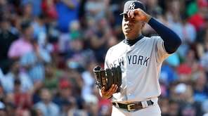 Aroldis Chapman of the Yankees looks on against