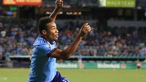 NYCFC's Jonathan Lewis #17 celebrates his game-winning goal