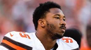 Browns defensive end Myles Garrett before a preseason game