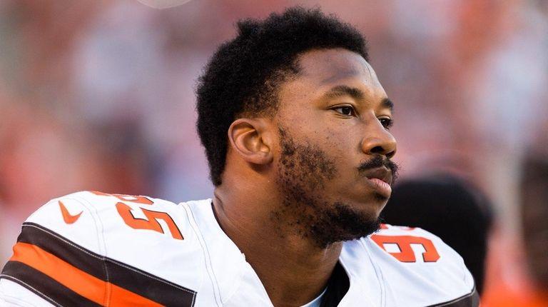 Browns defensive end Myles Garrett beforea preseason game