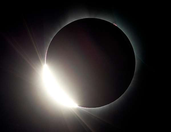 The moon almost eclipses the sun during a