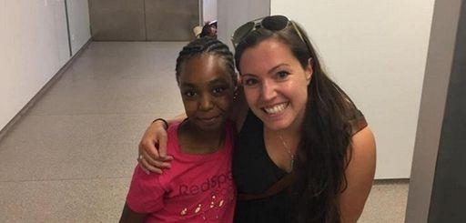 Heather Martin with Fatima El Ouabi, 10, the