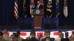 President Donald Trump speaks on Monday at Fort