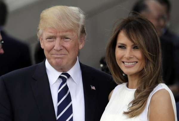 President Donald Trump, left, and first lady Melania