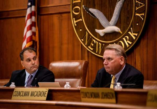 Oyster Bay Town Supervisor Joseph Saladino, left, and