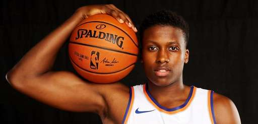 Knicks guard Frank Ntilikina poses for a portrait
