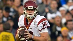USC quarterback Sam Darnold looks to pass during