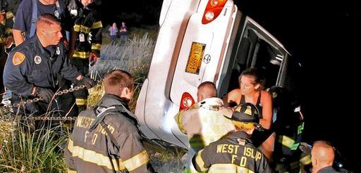 Raquel Warburton is rescued after crashing her car