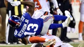 Giants receiver Odell Beckham Jr. is tackled by