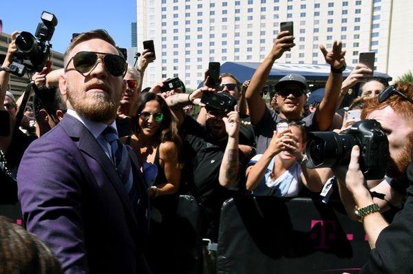 UFC lightweight champion Conor McGregor arrives at Toshiba