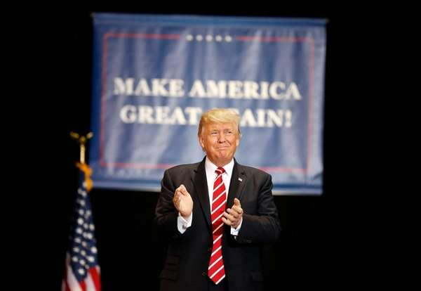 President Donald Trump arrives at a rally in